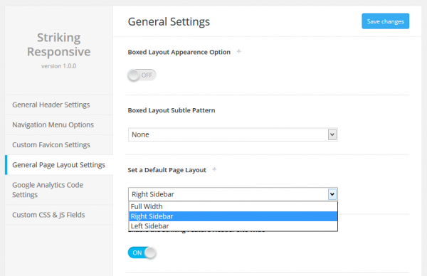 Global Page Layout Settings